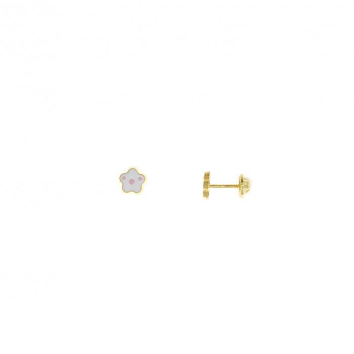 Pendientes para bebe de plata chapada dorado en forma de flor de esmalte