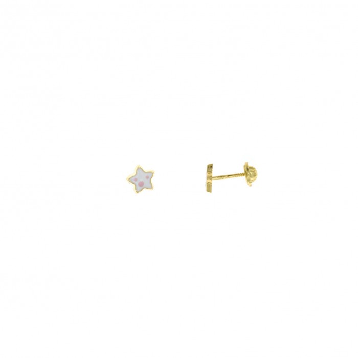 Pendientes para bebe de plata chapada dorada en forma de estrella