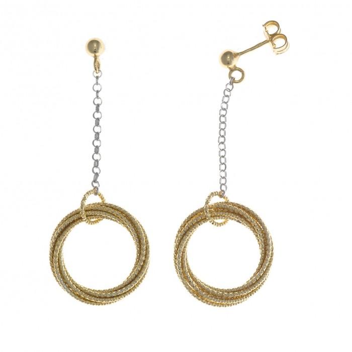 Pendientes de plata con aros diamantados en dorado de Salvatore Plata