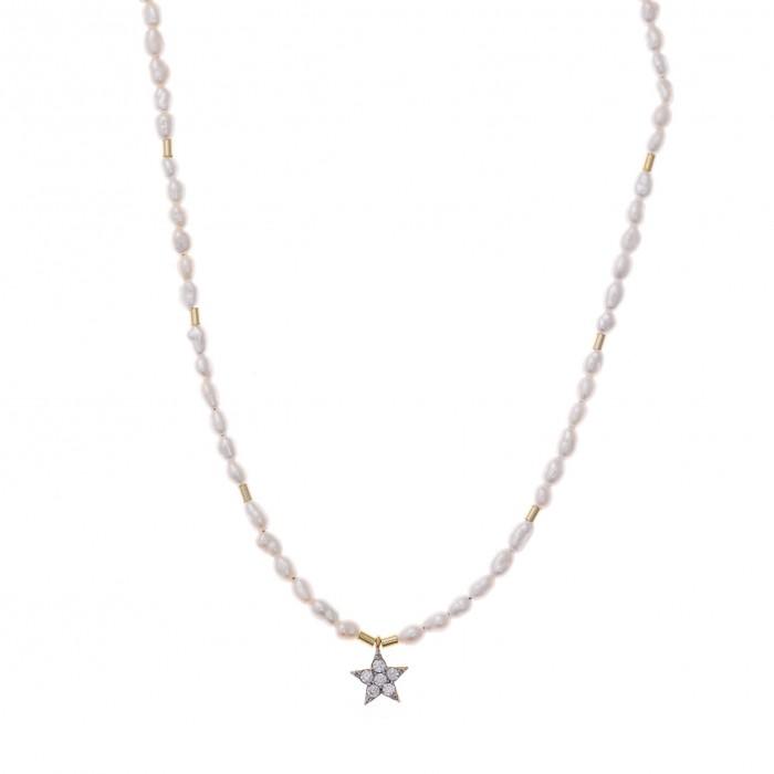 Gargantilla de plata con perlitas y una estrella de circonitas blancas