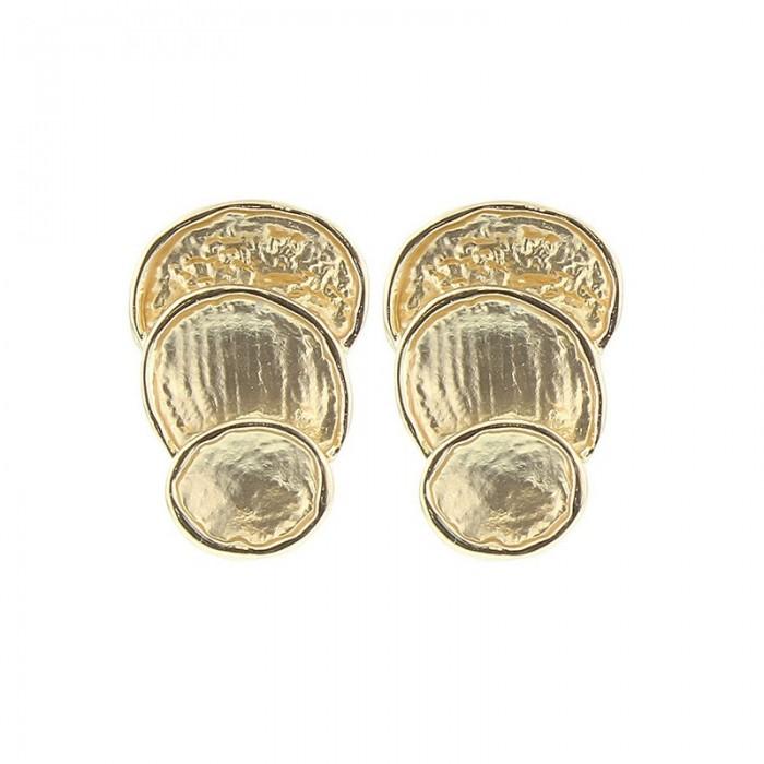 Pendientes de metal con placas irregulares doradas