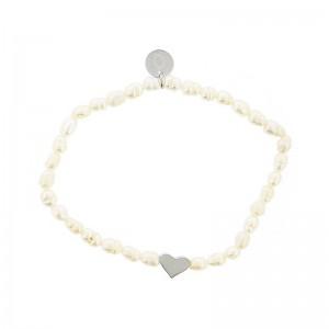 Pulsera elástica con perlas y corazón de acero