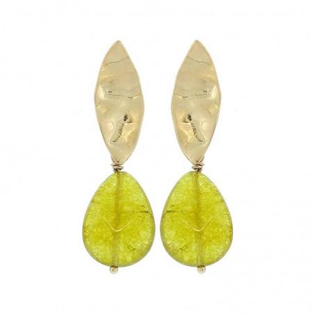 Pendientes de metal chapado dorado con piedra en color verde