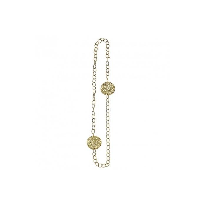 Collar largo con doble cadena y placas caladas doradas