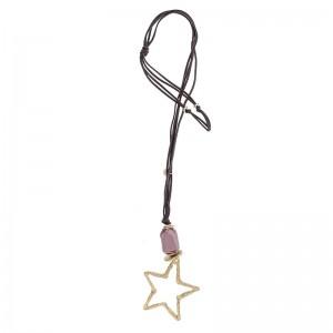 Collar largo con colgante de estrella en metal