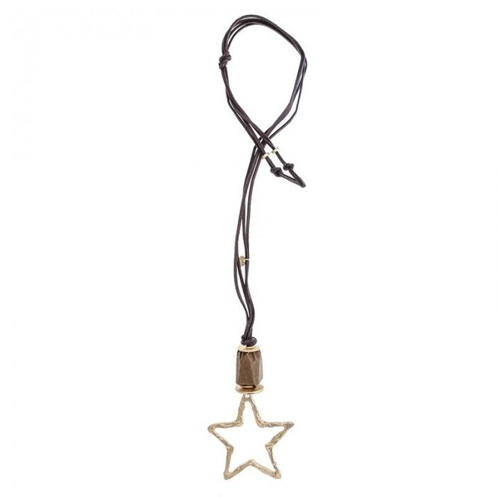 Collar largo con estrella de metal dorada