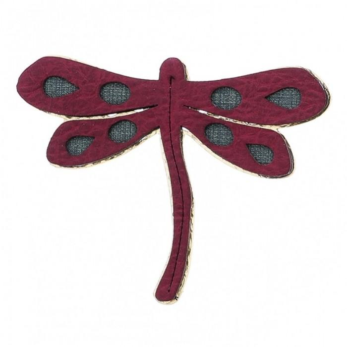 Broche de metal e imitación a cuero con forma de libélula