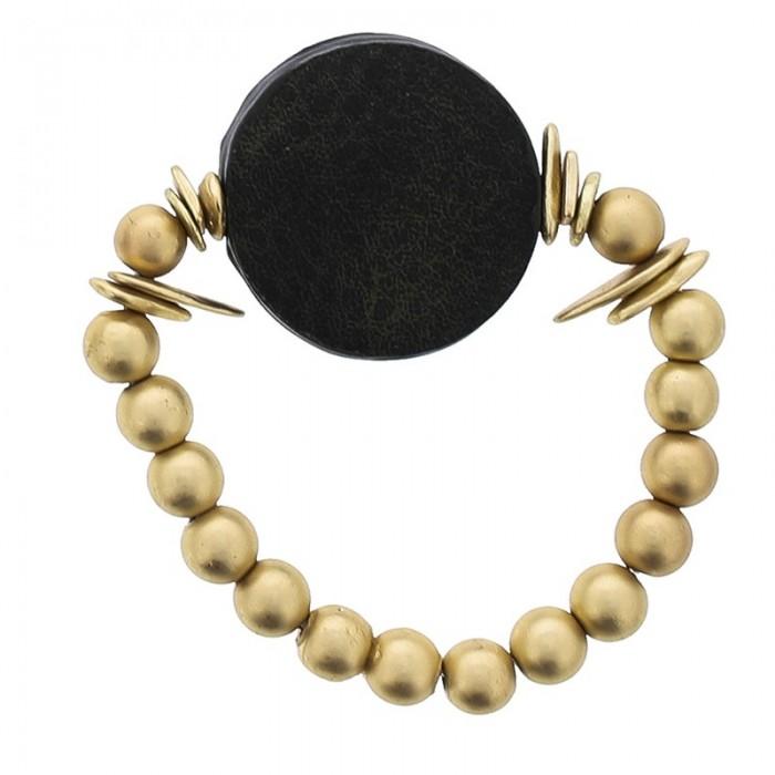 Pulsera elástica de bolas en dorado y círculo de piel