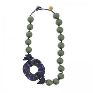 Gargantilla de bolas y anilla marmolada en vede y azul