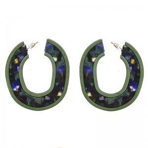 Pendientes de aro en color verde y combinado