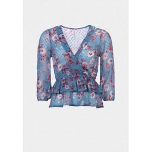 Blusa de plumeti, estampada en flores de tiffosi modelo nadine