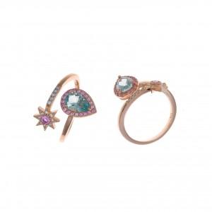 Sortija plata chapado rosa estrella brillante circonita rubi alrededor verde aqua pera