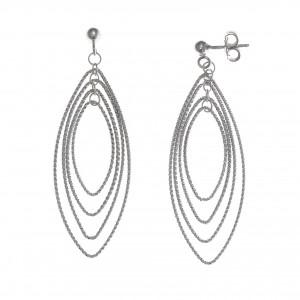 Pendientes plata rodio ovalos entrelazados diamantados