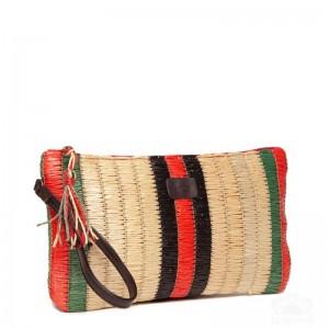 Bolso de mano en paja de colores con borla de hilos