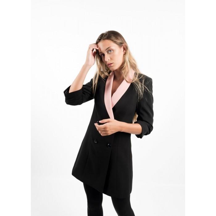 Vestido blazer solapa rosa