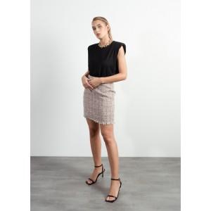 Minifalda con estampado Tweed y flecos en el bajo