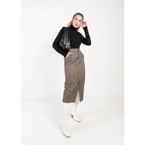 Falda recta en corte midi con estampado de cuadros