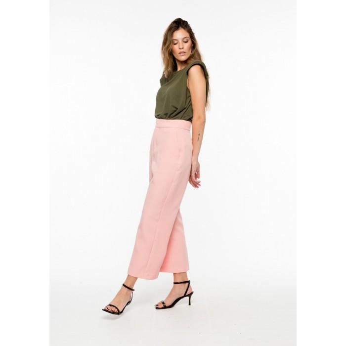 Pantalón culotte en rosa pastel