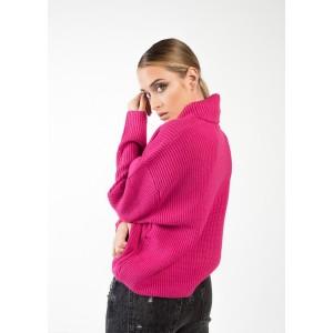 Jersey en cuello vuelto color fucsia