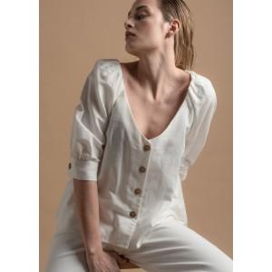 Blusa de lino con escote
