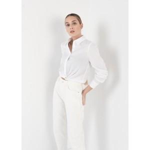 Camisa manga larga con nudo en cintura