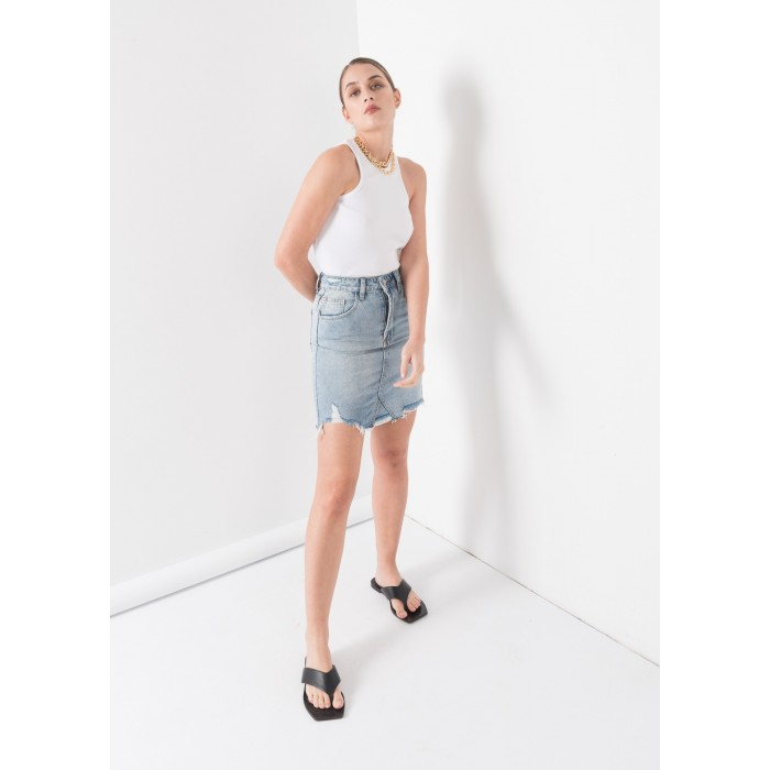 Mini falda vaquera deshilachada