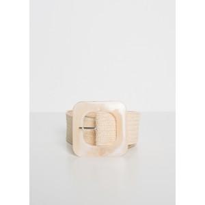 Cinturón de rafia para mujer con hebilla resina