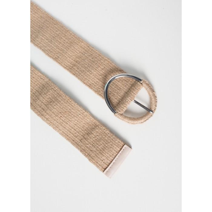 Cinturón lino con hebilla combinada