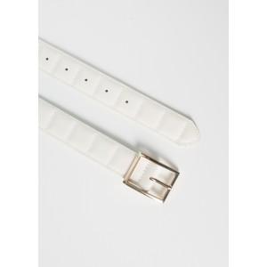 Cinturón blanco hebilla dorada
