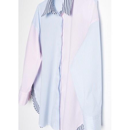 Camisa de mujer de rayas tricolor