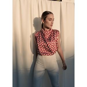 Blusa sin mangas con estampado geométrico