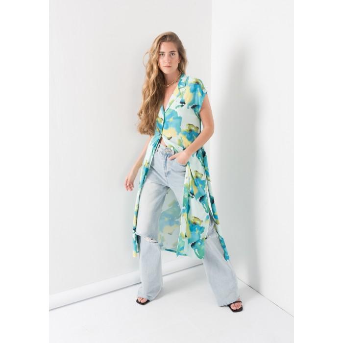 Vestido camisero estampado abstracto