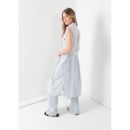 Vestido camisero de rayas celeste