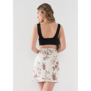 Falda ajustada con estampado flores