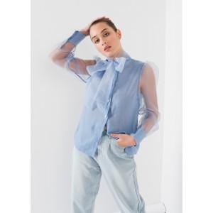 Blusa organza con lazada al cuello