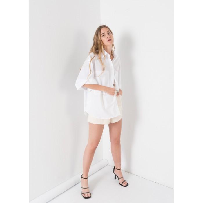 Camisa popelín en manga corta color blanco