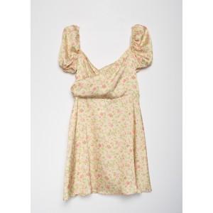 Vestido saten manga abullonada