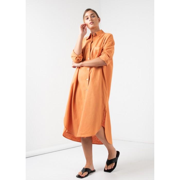 Vestido Midi camisero en Lino