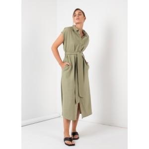 Vestido camisero con cinturón y manga corta color verde
